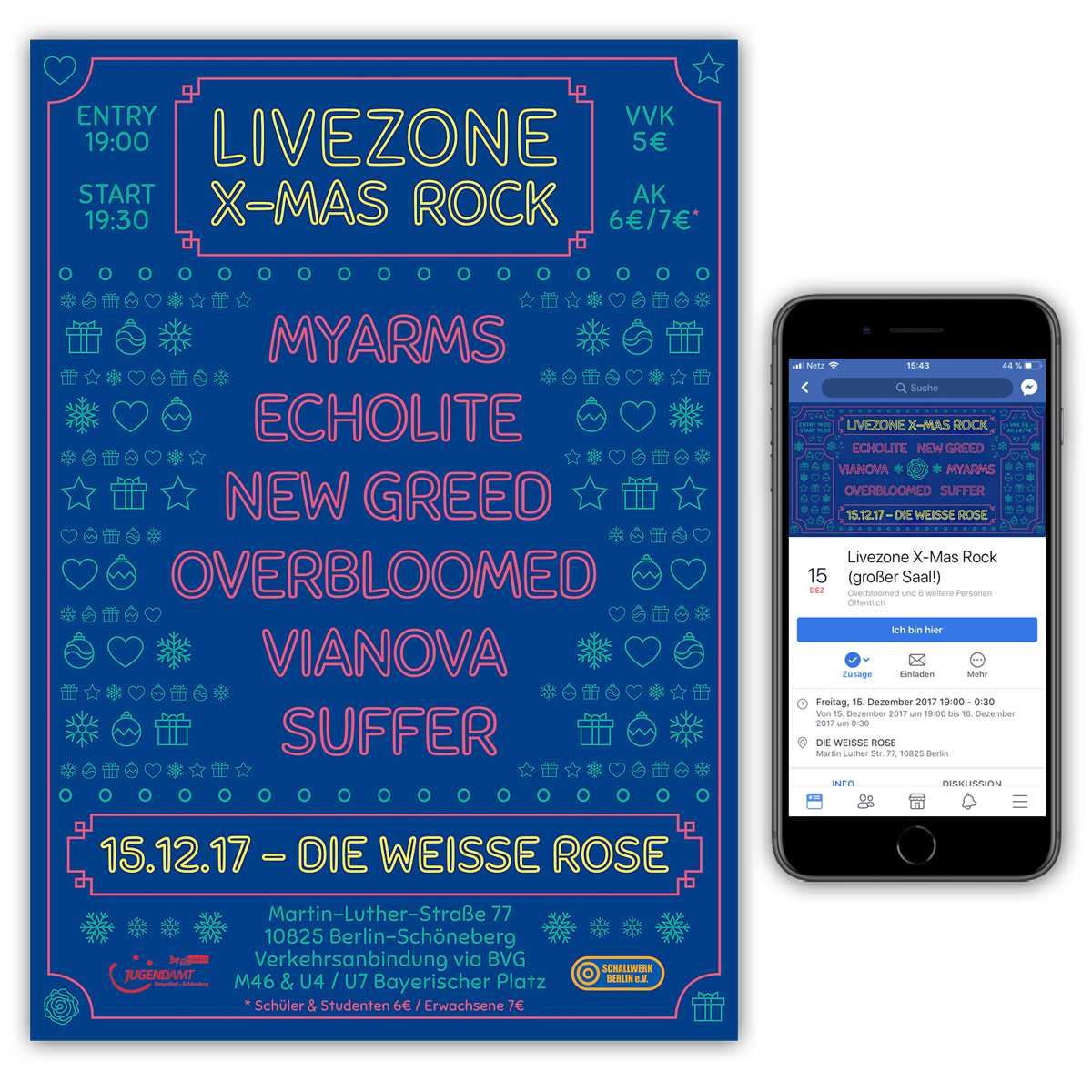 Plakat und Facebook Event